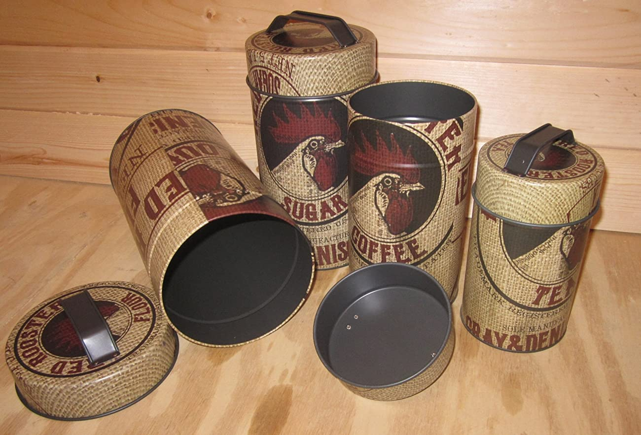 Seed Bag Red Rooster Food Safe Tin Canister Set Vintage Prim Rustic Kitchen Decor 3
