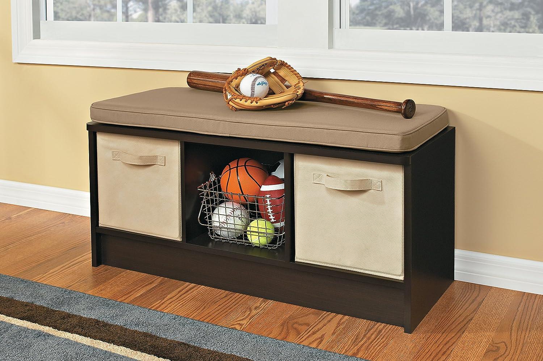 Storage Cube Organizer Bench Furniture Hallway Wood Entryway Lounge Home Seat Ebay
