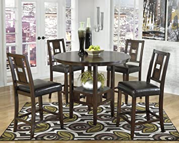 Logan 5 Pc Brown Cherry Finish Round Counter Height Dining Table Barstools Set