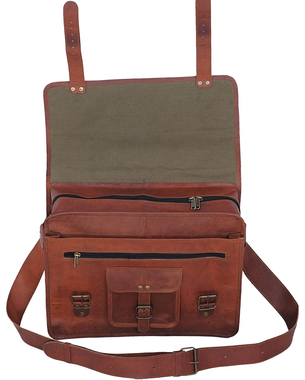 PL 16 Inch Vintage Leather Messenger Bag Briefcase / Fits upto 15.6 Inch Laptop 2