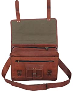 PL 16 Inch Vintage Leather Messenger Bag
