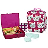 Bentology Lunch Bag and Box Set for Girls - Includes Insulated Durable Tote Bag with Handle and bottle holder, Bento Box, 5 Containers and Ice Pack - BPA & PVC Free (Kitty) (Color: Kitty)