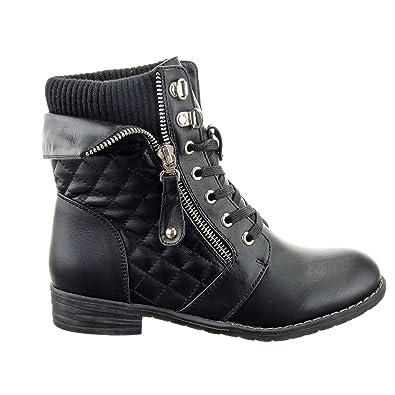 Negozio dettaglio Sopily - Scarpe da Moda Stivaletti - Scarponcini Rangers  Cavalier Low boots donna trapuntata Zip Tacco a blocco 3 CM - soletta  sintetico ... 9b2663b4974