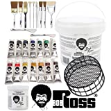 Bob Ross Painting Supplies 29 Piece Complete Master Paint Set - The Joy of Painting Kit with 10 Brush, 2 Knife, 14 Landscape Oil Color, Liquid White Oil Base Coat and Cleaning Bucket & Screen