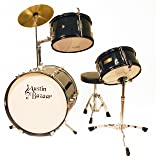 Austin Bazaar 3-Piece Kid's Black Drumset with 16 Bass Drum, Snare, Cymbal, Pedal, Throne and Drumsticks