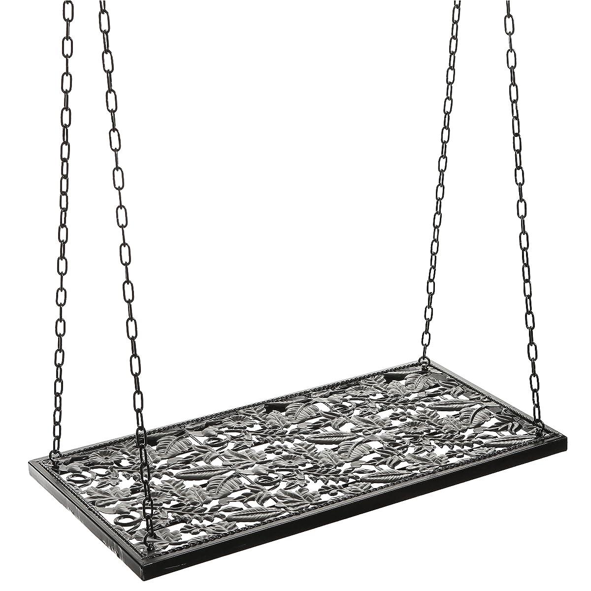 Vineyard Design Black Metal Ceiling Mounted Hanging Stemware Wine Glass Hanger Organizer Rack