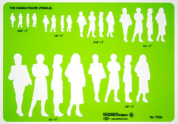 Alvin TD33 Female Human Figure Template (Color: Green)