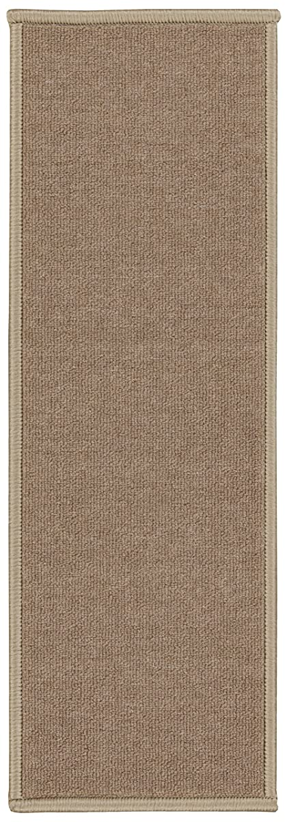 "Ottomanson Set Variation of Skid-Resistant Rubber Backing Non-Slip Carpet Stair Treads (8.5"" x 26.5""-14Pack), 14 Pack, Dark Beige"