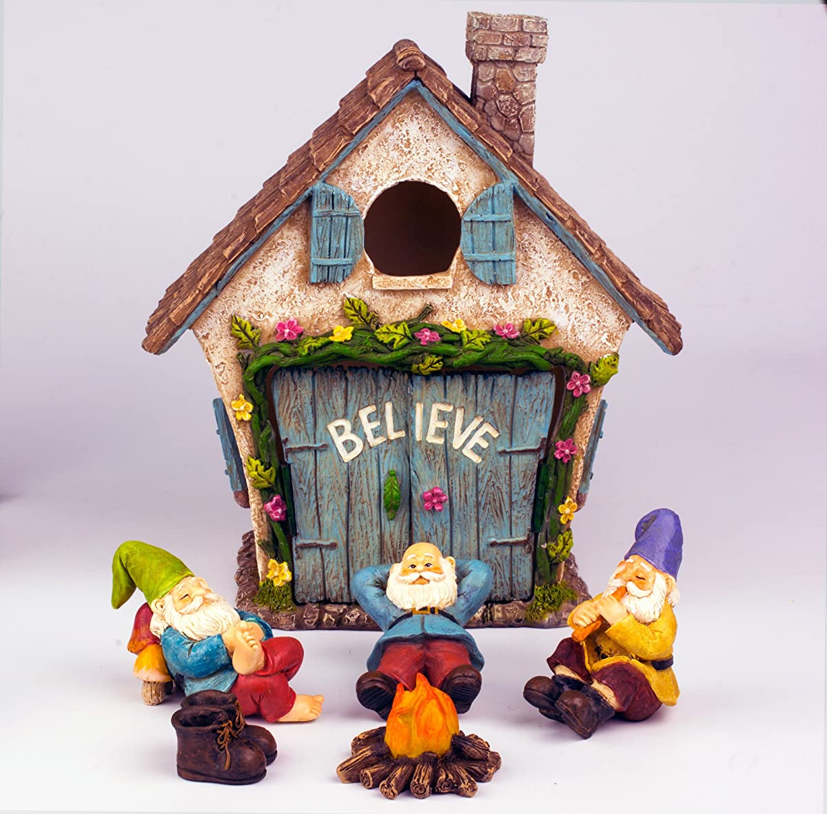 """The Adorable Believe Fairy Garden House - 8"""" tall - Hand Painted (with Doors that Open) by Twig & Flower"""