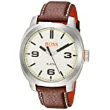 Hugo BOSS Men's 'Cape Town' Quartz Stainless Steel and Leather Casual Watch, Color Brown (Model: 1513411)