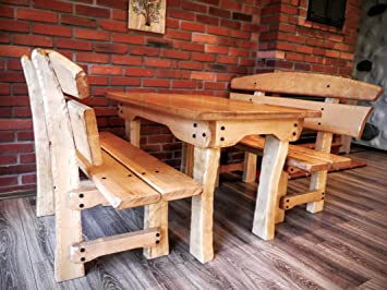 Timberline Sitzgruppe Country 130 cm rustikal Outdoor Gartenmöbel, Farbe:dunkel geölt;Material:Birke
