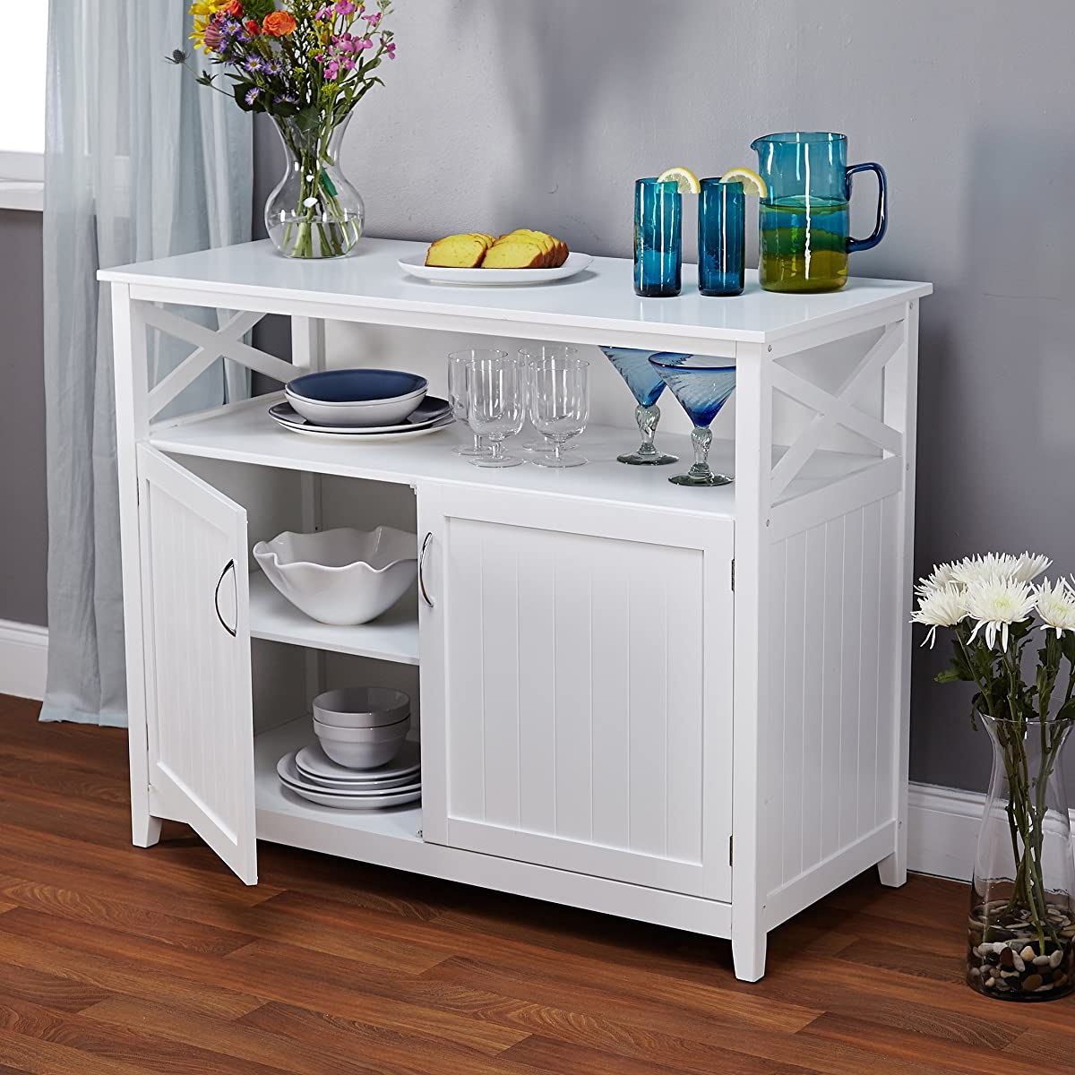 Contemporary Cottage Wooden Buffet in White Finish with Beadboard Doors