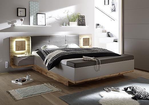 Bett 180 x 200 cm mit Bettkasten Wildeiche/ Basaltgrau mit Abs. Hirnholz
