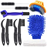 Oumers Bicycle Clean Brush Kit, 10pcs Motorcycle Bike Chain Cleaning Tools Make Chain/Crank/Tire/Sprocket Cycling Corner Stain Dirt Clean, Durable/Practical fit All Bike (Color: 10 pcs bike Clean Brush Kit)