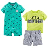 Simple Joys by Carter's Baby Boys' 3-Piece Playwear Set, Green Little Brother, 6-9 Months (Color: Green Little Brother, Tamaño: 6-9 Months)