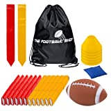 Flag Football Set for 12 Players - Includes Durable Flag Belts and Flags, Cones, Bean Bag, Carrying Backpack, and Football - Huge 55 Piece Complete Set (Red and Yellow) (Color: Red and Yellow)