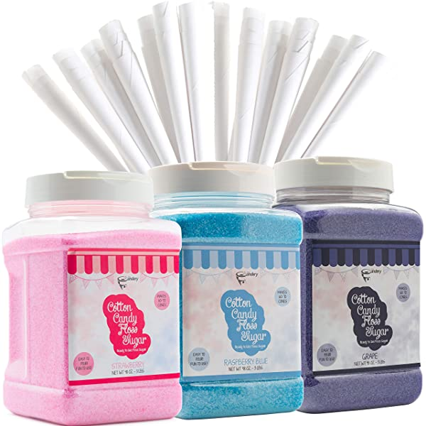The Candery Cotton Candy Floss Sugar (3-Pack) Includes 100 Premium Cones (3-Pack 46oz with 100 Cones) (Tamaño: 3-Pack 46oz with 100 Cones)