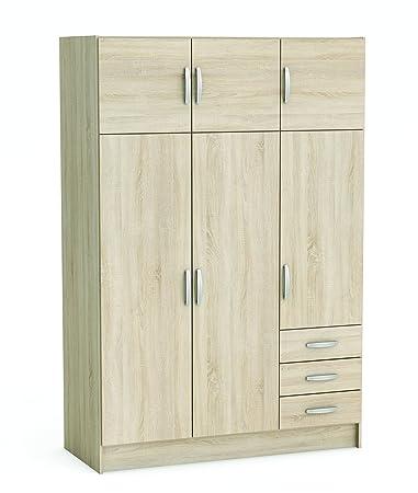 """Demeyere Armario """"Magnum"""" de 3más 3puertas, 3cajones, madera, roble cepillado color blanco perla."""