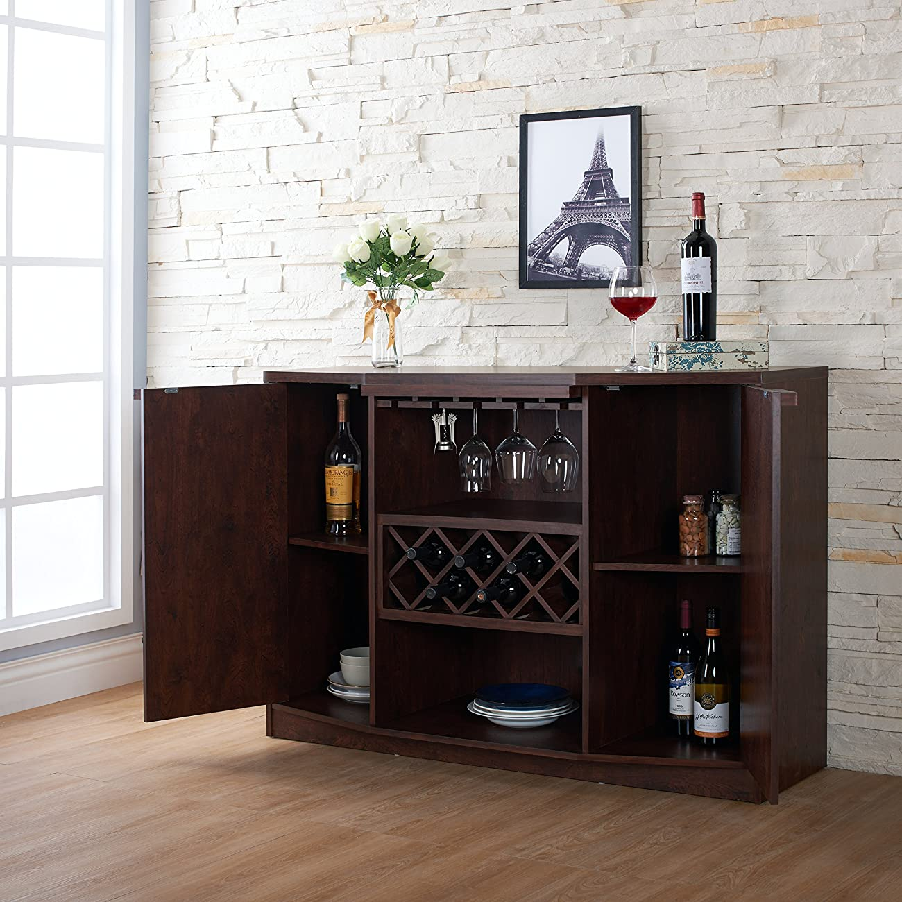 ioHOMES Annadel Wine Cabinet Buffet, Vintage Walnut 3