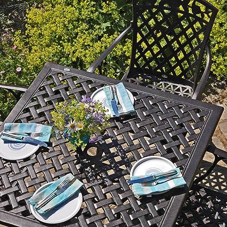 Lazy Susan - LUCY 91 cm Quadratischer Gartentisch mit 4 Stuhlen - Gartenmöbel Set aus Metall, Antik Bronze (ROSE Stuhle)