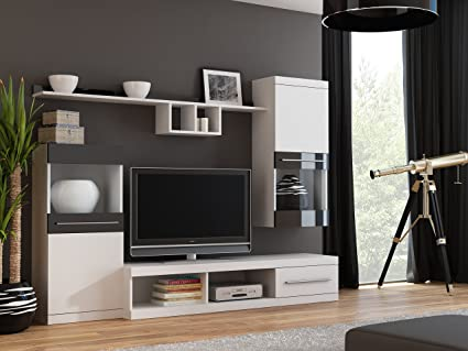 "BMF ""NICK"" Wall Unit with Standing Hanging Cabinets TV Stand Shelves - Medium Sized Rooms - 220cm Wide - WHITE / BLACK"