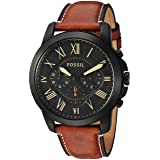 Fossil Mens FS5241 Grant Chronograph Luggage Leather Watch (Color: Light Brown, Tamaño: One Size)