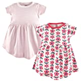 Touched by Nature Baby Girls' Organic Cotton Dress, 2 Pack, Flower, 0-3 Months (3M)