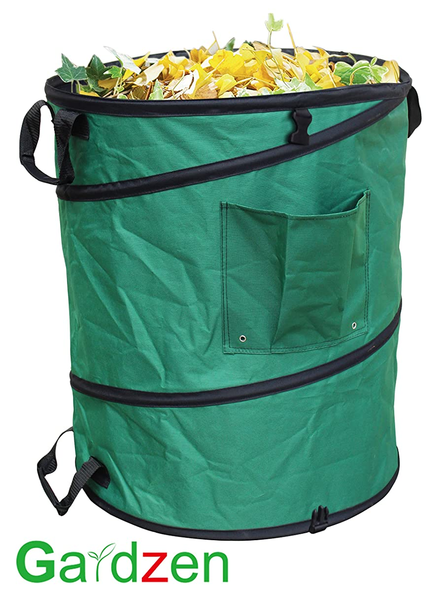 Gardzen 45 Gallon Professional Pop Up Garden Bag - Come with Gloves - Heavy Duty Reusable Gardening Yard Lawn and Leaf Waste Bag - Great for the Trash Tool Laundry Collapsible Bag