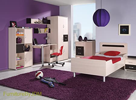 Classic Children/Kids Furniture Set Composition: NEMO SET 2. Single Bed (mattress included) with Side Night Table, 2D Wardrobe, Desk and Wall-mounted Shelves, Chest Of Drawers and Free Standing Shelves and Doors Unit.