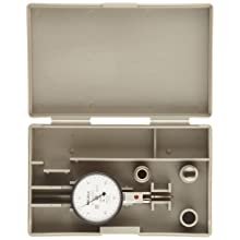 "Mitutoyo 513-472 Dial Test Indicator, Horizontal Type, Ruby Stylus, 0.375"" Stem Dia., White Dial, 0-15-0 Reading, 1.575"" Dial Dia., 0-0.03"" Range, 0.0005"" Graduation"