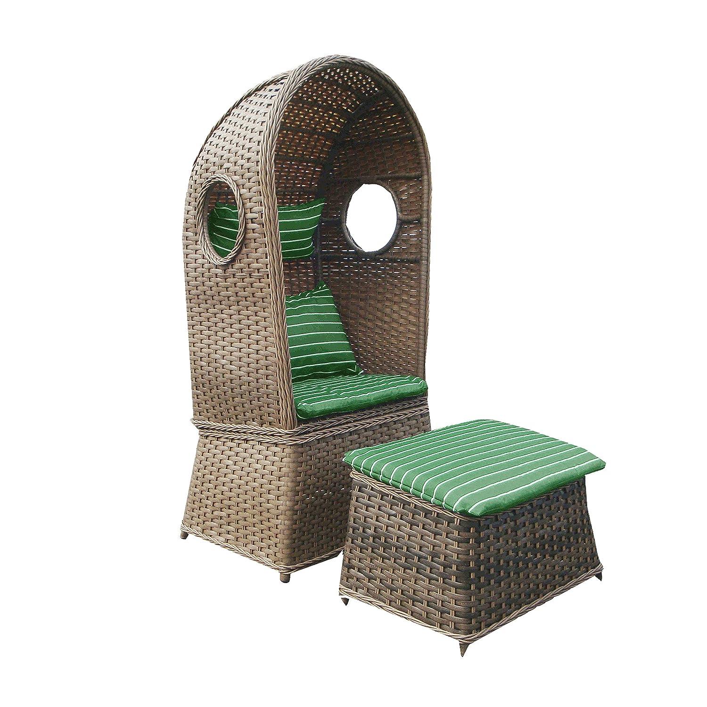 Strandkorb NOSTALGIE 1-Sitzer Korb mit Fußbank und Auflage grün, LILIMO ®