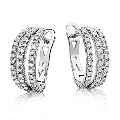 Miore White Gold Diamond Hoops 0.6 ct Diamond Weight Earrings
