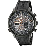 Citizen Men's Eco-Drive Navihawk Atomic Timekeeping Watch,  JY8035-04E (Color: Black Ion Plated Stainless Steel, Tamaño: Case diameter-dimension 48 mm Case thickness 15 mm)