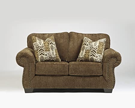 Westworth Collection Traditional Design Umber Tone Fabric Upholstered Loveseat