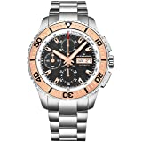 Alexander Vanquish Olyn Mens Chronograph Watch Stainless Steel Black Face Day Date Tachymeter - Screw Down Crown Swiss Made Analog Automatic Diver Watch A420-05 - Alexander Automatic Watches For Men