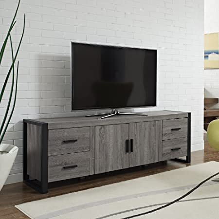 WE Furniture Wood TV Stand, 70-Inch, Industrial Grey