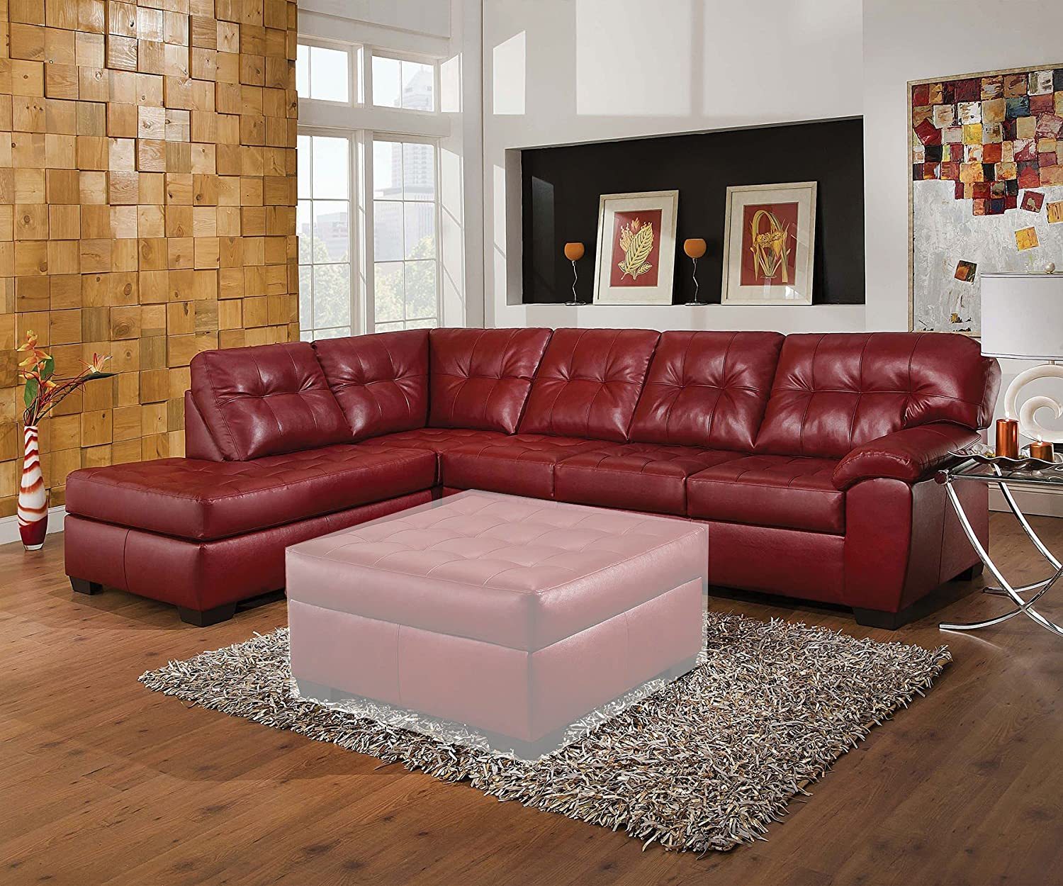 1PerfectChoice Shi Soho Cardinal Leather Sectional Sofa Left Chaise