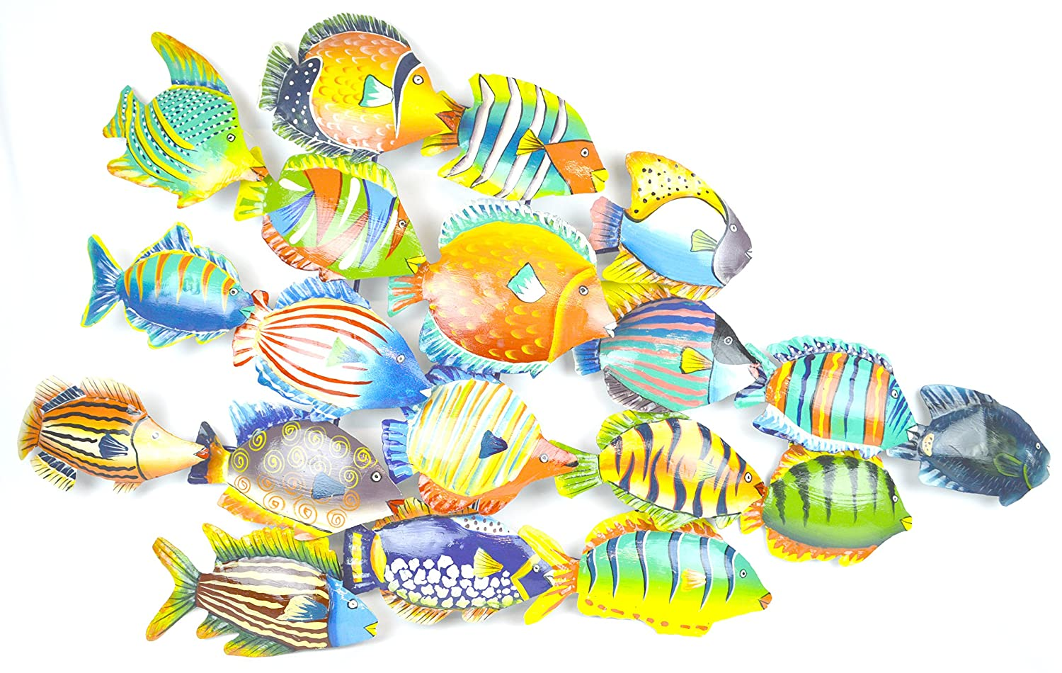 Fish metal wall art unique and colorful for School of fish metal wall art