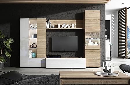 Habitdesign 016642F - Mueble de comedor con leds , acabado en Blanco Brillo y Roble Natural, medida 260 cm de ancho.