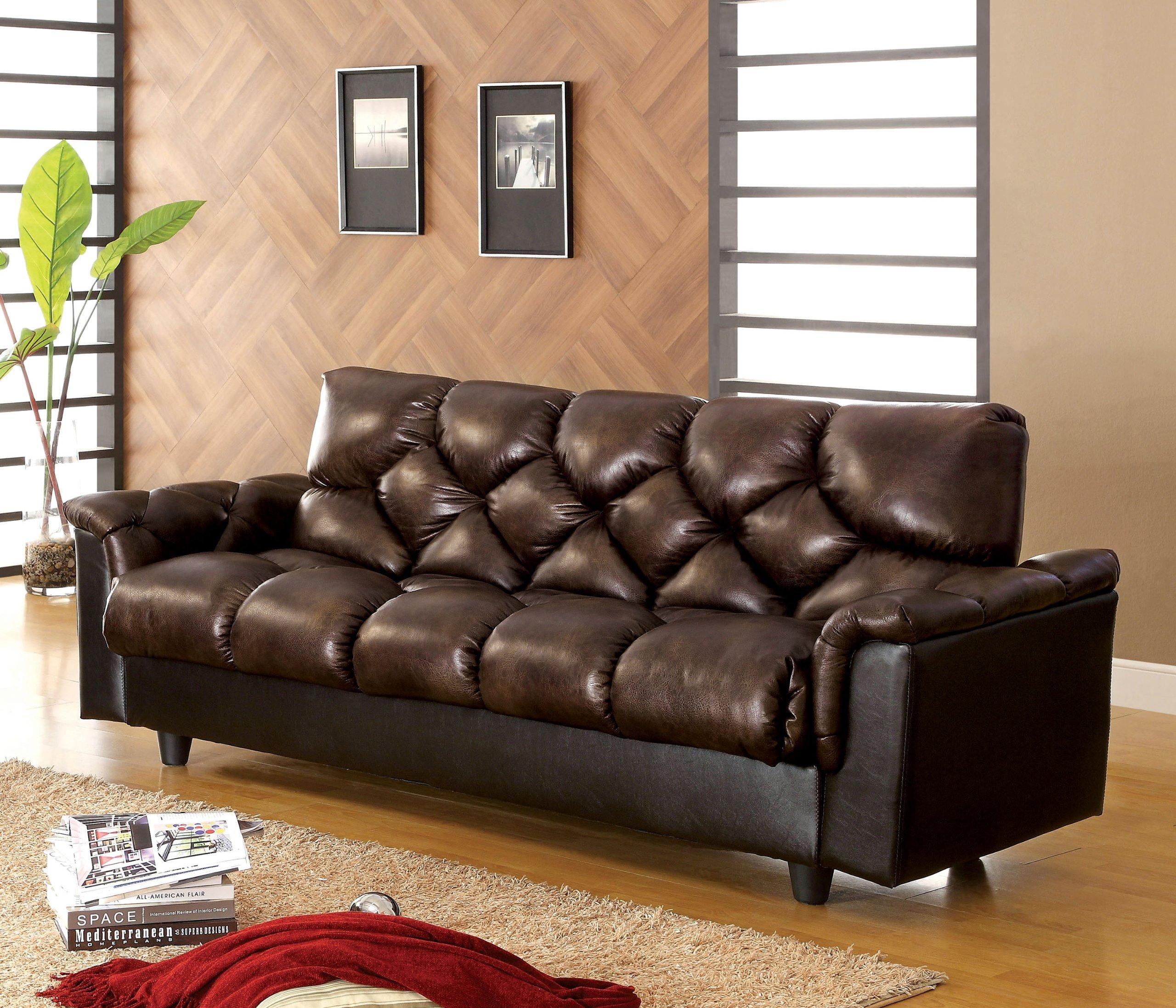 Furniture Of America Montclaire Leather Vinyl Storage Futon/Sofabed, Dark  Brown