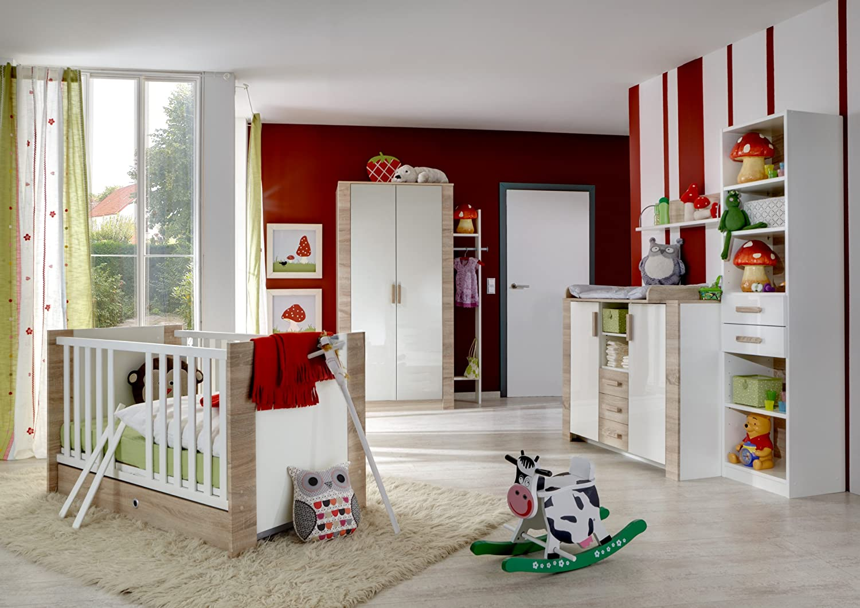 Babyzimmer mit Bett 70 x 140 cm Pearlglanz Softwhite/ Eiche sägerau jetzt bestellen