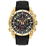 Men's Bulova Precisionist Chronograph Gold Tone Black Strap Watch 97B178