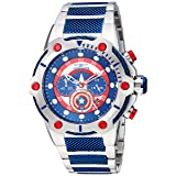 Invicta Men's 'Marvel' Quartz Stainless Steel Casual Watch, Color:Two Tone (Model: 25780) (Color: blue)