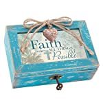 Faith Makes All Things Possible Teal Wood Locket Jewelry Music Box Plays Tune Amazing Grace