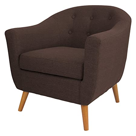 Mid Century Retro Modern Style Chocolate Brown Button Tufted Upholstered Tub Accent Armchair with Wood Legs