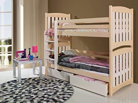 SERAFIN Children Bunk Bed - Pine Wood - 22 Colours - 2 Sizes - 4 Types of Mattresses (UK Standard 199cm x 94cm x 160cm)