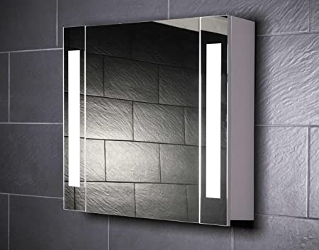 Galdem Curve 80 Mirrored Bathroom Cabinet 80cm / 1 Door / Trendy Lighting T5 Fluorescent Lamp / Soft Close Function / Plug / Also Suitable for Hallway