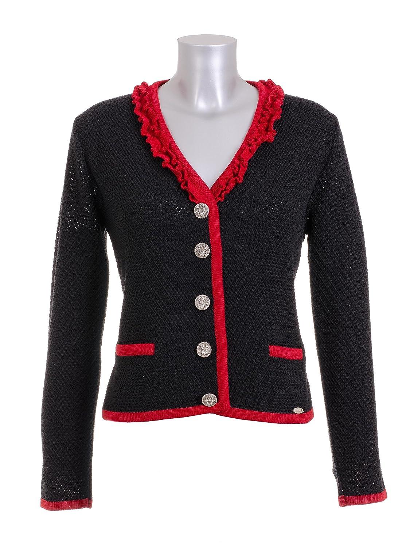 Trachten Dirndl Strickjacke Huber Mode schwarz rot günstig online kaufen