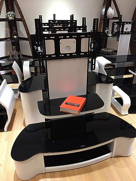 Fernseh-Sideboard, matt, weißer TV Ständer mit schwarzem Sicherheitsglas & Halterung, fur 32 -65 Zoll Fernseher (ca. 81,28–165,1cm)