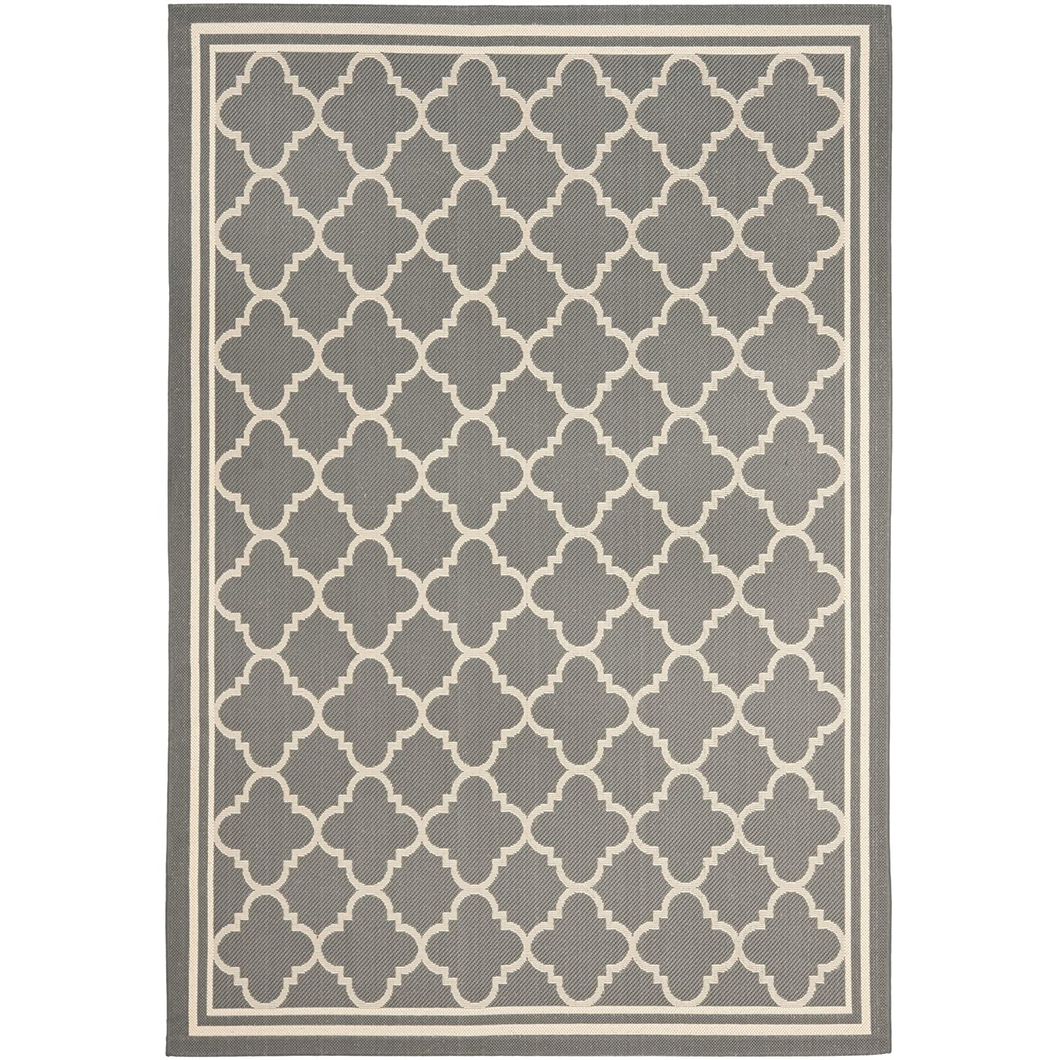 Amazon Safavieh Courtyard Indoor Outdoor Rug Anthracite/Beige